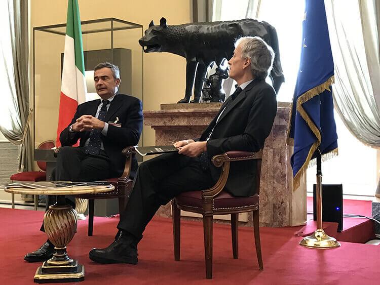 Il direttore di Agi Riccardo Luna e il segretario generale del Censis Giorgio De Rita